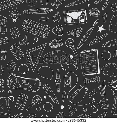 Back to school vector doodle seamless pattern on dark background