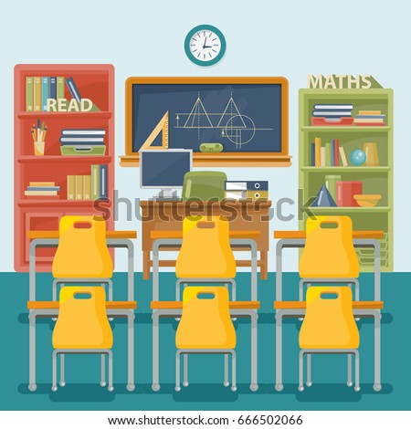 classroom chair back. back to school vector illustration. classroom with desk, chalkboard and chair. chair
