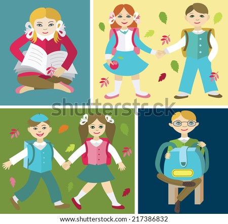 Back to school (vector illustration, flat concept) - stock vector
