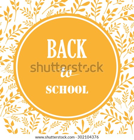 Back to School Vector Illustration. Hand Drawn Autumn leaves and Design Elements. - stock vector