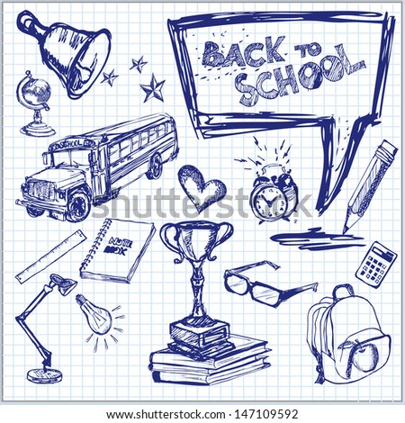 Back to School. Vector illustration. Set of freehand drawing school symbols on a sheet of exercise book. - stock vector