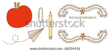 Back to School Vector Illustrations & Lunch Label artwork.