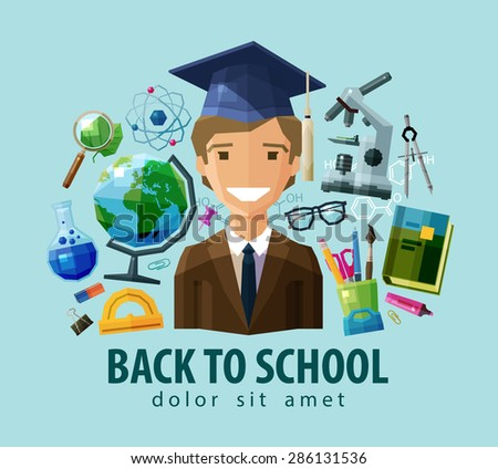 back to school vector logo design template. education, schooling or student, study, science icon. flat illustration - stock vector