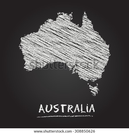 Back to school vector map of Australia hand drawn with chalk on a blackboard. Chalkboard scribble in childish style. White chalk texture on black background - stock vector