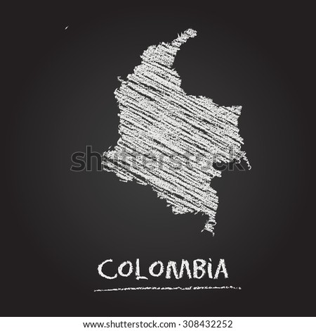 Back to school vector map of Colombia hand drawn with chalk on a blackboard. Chalkboard scribble in childish style. White chalk texture on black background - stock vector