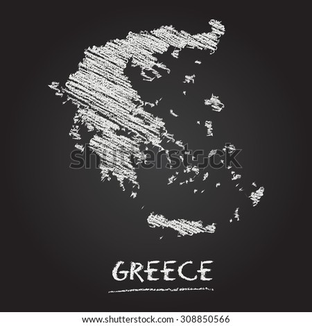Back to school vector map of Greece hand drawn with chalk on a blackboard. Chalkboard scribble in childish style. White chalk texture on black background - stock vector
