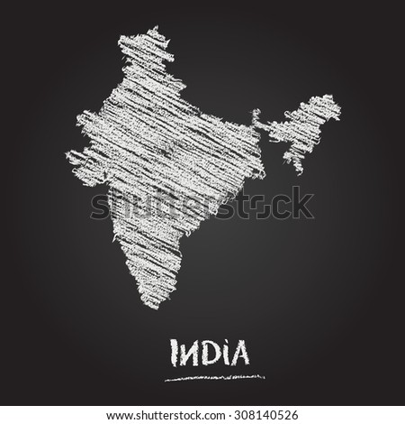 Back to school vector map of India hand drawn with chalk on a blackboard. Chalkboard scribble in childish style. White chalk texture on black background - stock vector