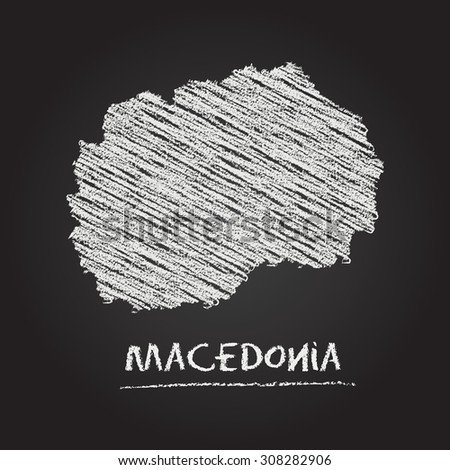 Back to school vector map of Macedonia hand drawn with chalk on a blackboard. Chalkboard scribble in childish style. White chalk texture on black background - stock vector