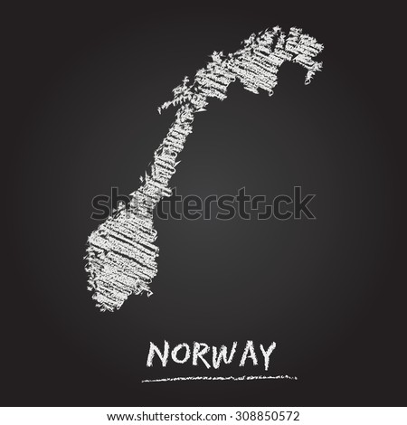 Back to school vector map of Norway hand drawn with chalk on a blackboard. Chalkboard scribble in childish style. White chalk texture on black background - stock vector