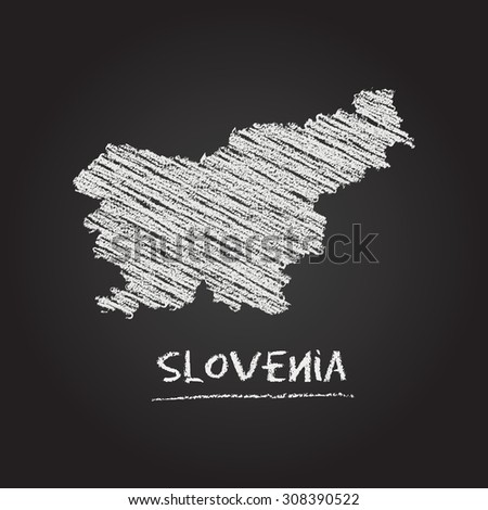 Back to school vector map of Slovenia hand drawn with chalk on a blackboard. Chalkboard scribble in childish style. White chalk texture on black background - stock vector