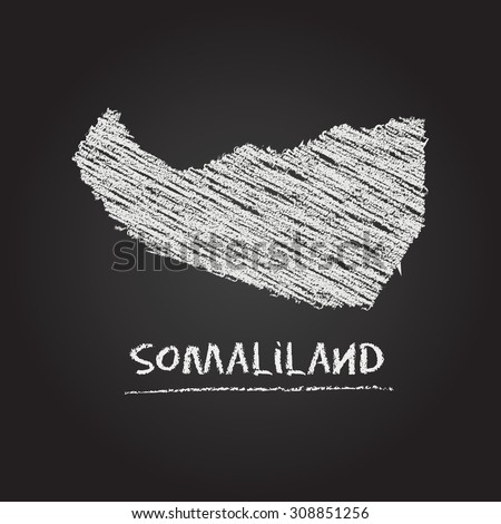 Back to school vector map of Somaliland hand drawn with chalk on a blackboard. Chalkboard scribble in childish style. White chalk texture on black background - stock vector