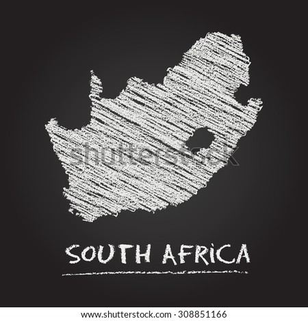 Back to school vector map of South Africa hand drawn with chalk on a blackboard. Chalkboard scribble in childish style. White chalk texture on black background - stock vector