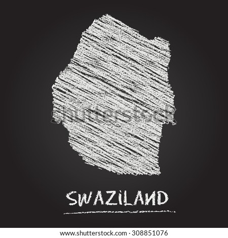 Back to school vector map of Swaziland hand drawn with chalk on a blackboard. Chalkboard scribble in childish style. White chalk texture on black background - stock vector