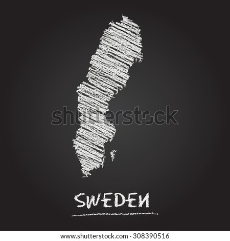 Back to school vector map of Sweden hand drawn with chalk on a blackboard. Chalkboard scribble in childish style. White chalk texture on black background - stock vector