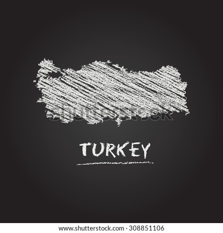 Back to school vector map of Turkey hand drawn with chalk on a blackboard. Chalkboard scribble in childish style. White chalk texture on black background - stock vector