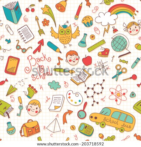 Back to school. Vector seamless pattern. Great for backgrounds - stock vector
