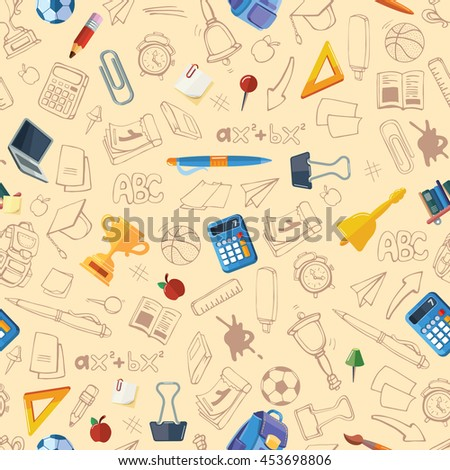 Back to School. vector seamless pattern with hand drawn of school elements isolate on light background