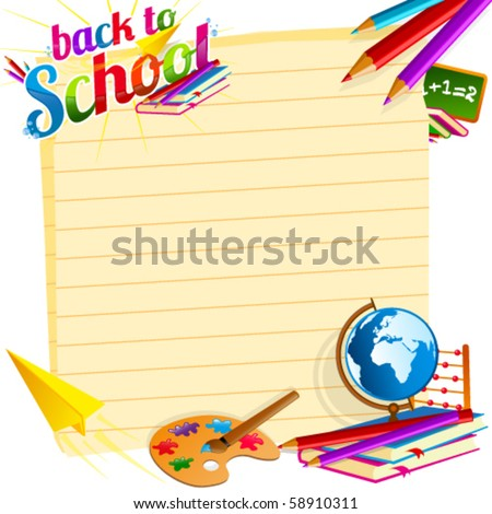 Back to school vector template - stock vector