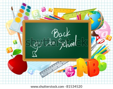 Back to school vector template. - stock vector
