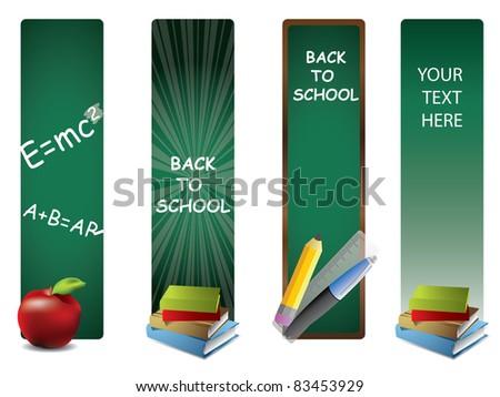 Back to school vertical banners - stock vector