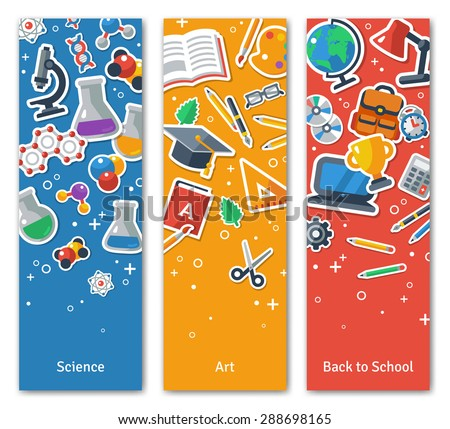 Back To School Vertical Banners Set With Flat Icons. Vector Illustration. Arts and Science Stickers. Education Concept.