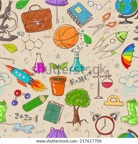 Back to school - vintage scratched seamless background. Can be used for wallpaper, pattern fills, textile, web page background, surface textures. Vector illustration.  - stock vector