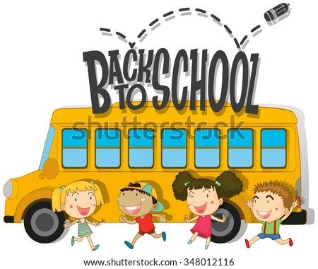 Back to school with children and schoolbus illustration - stock vector