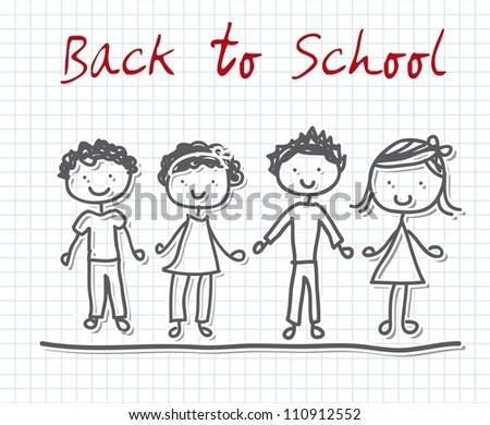back to school with children over paper notebook. vector - stock vector