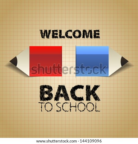 Back to School, with paper pencils, Vector eps10