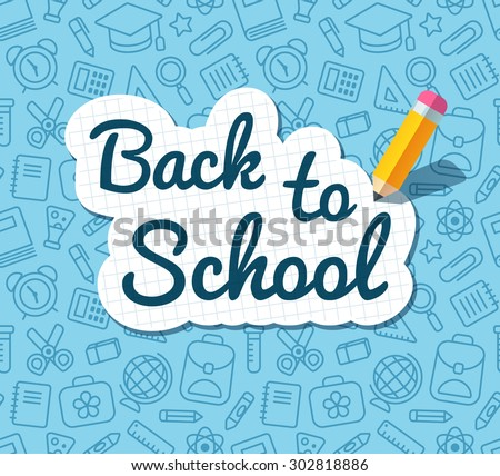 Back to school words banner on lined notebook paper and flat vector pencil on blue pattern of education related symbols. Texture can be tiled seamlessly in any direction.  - stock vector