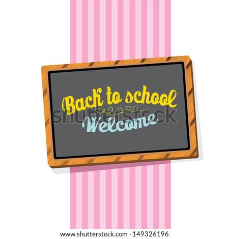 Back to school, written on blackboard with chalk, vector illustration. - stock vector