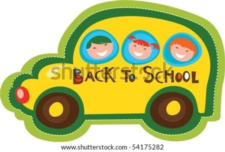 Back to school yellow bus - stock vector