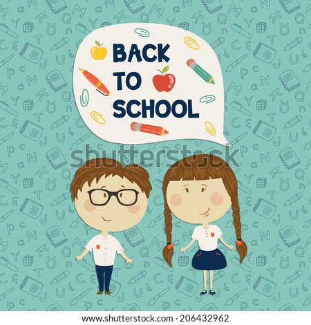 Back to school. Young boy in glasses and little girl holding say back to school. Vector illustration. Seamless pattern on background - stock vector