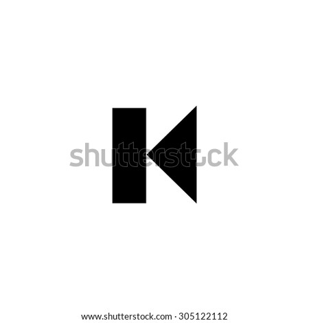 Back Track arrow Media player control button. Black simple vector icon - stock vector