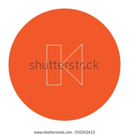 Back Track arrow Media player control button. Flat outline white pictogram in the orange circle. Vector illustration icon - stock vector
