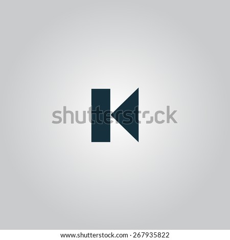Back Track arrow Media player control button. Flat web icon or sign isolated on grey background. Collection modern trend concept design style vector illustration symbol - stock vector