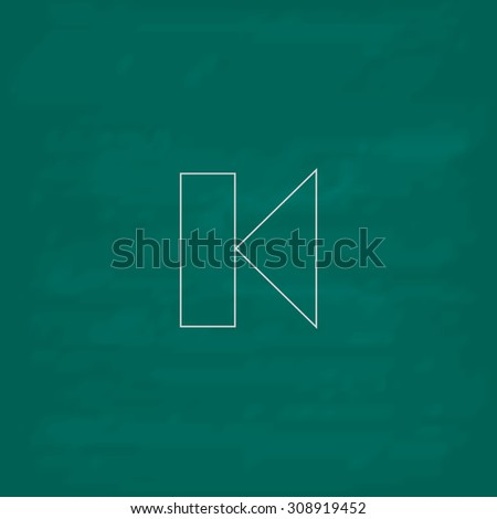 Back Track arrow Media player control button. Outline vector icon. Imitation draw with white chalk on green chalkboard. Flat Pictogram and School board background. Illustration symbol - stock vector
