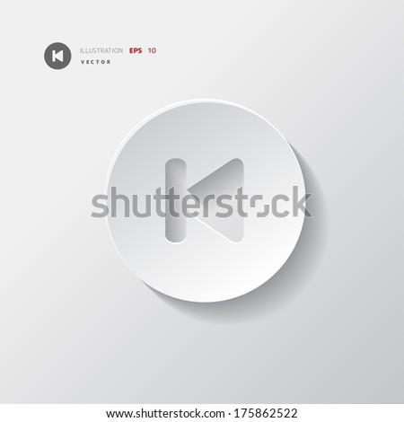 Back track web icon.Media player. - stock vector