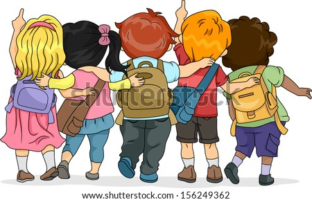 Back View Illustration of a Group of Kids Looking Upwards - stock vector