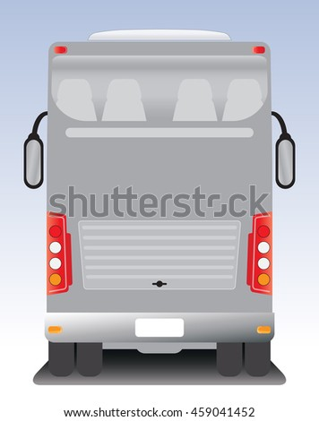 Back view of Double deck touring Coach bus
