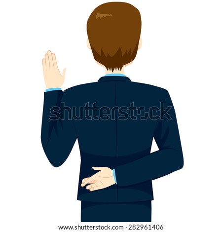 Back view of young man lying swearing with fingers crossed - stock vector