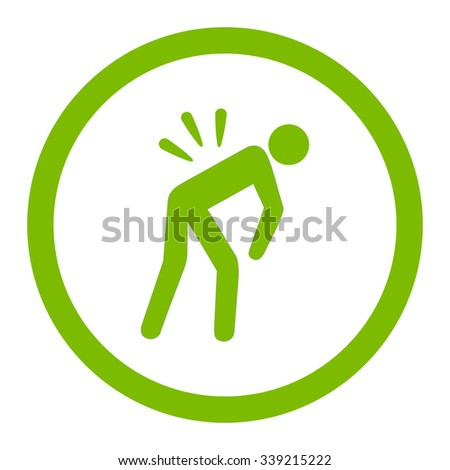 Backache vector icon. Style is flat rounded symbol, eco green color, rounded angles, white background.