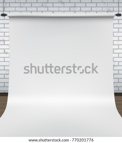 Backdrop stand with white paper backdrop. Empty photo studio gray background. Vector illustration