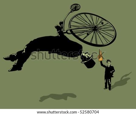 Backflip on ancient bike. - stock vector