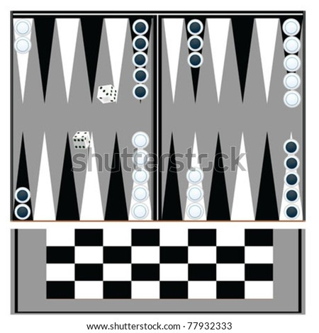 backgammon table with black and white - stock vector