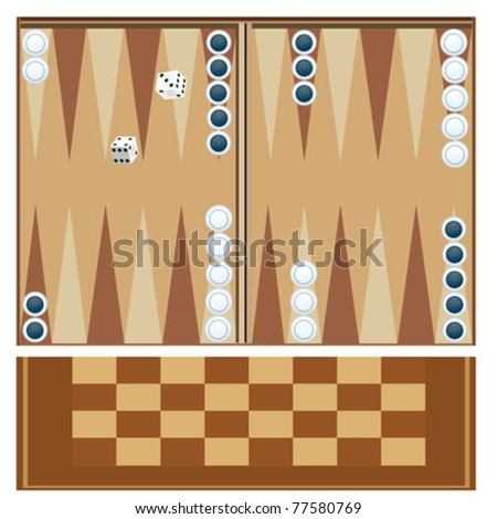 backgammon table with dices - stock vector