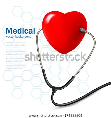 Background a stethoscope and a heart. Vector.  - stock vector