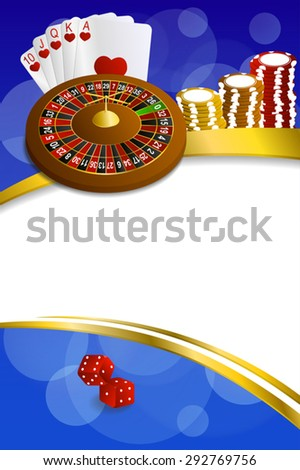 Background abstract blue casino roulette cards chips craps frame vertical gold ribbon illustration vector