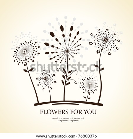 Background abstract flowers silhouette dandelion. Vector illustration - stock vector