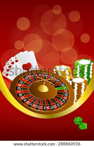 Background abstract red casino roulette cards chips craps frame vertical gold ribbon illustration vector